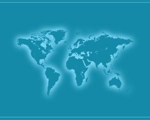 Plantilla PowerPoint de Negocios con Mapa Mundi y color Azul en el fondo