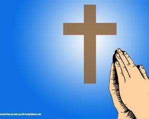 Plantilla PowerPoint con cruz y manos rezando sobre fondo azul