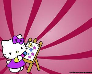 Hello Kitty Pintando PPT PPT Template